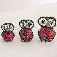 Ceramic sculptures, 'Wisdom and Luck in Red' (set of 3) - Red Ceramic Owl Accents (Set of 3) from Guatemala