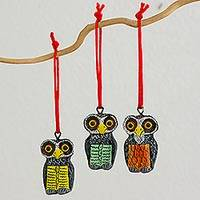 Ceramic ornaments, 'Friendly Owls' (set of 6) - Multicolor Ceramic Owl Ornaments (Set of 6) from Guatemala