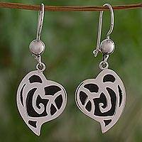 Sterling silver dangle earrings, 'Rose Hearts' - Sterling Silver Heart Shaped Dangle Earrings from Guatemala