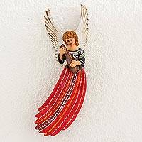 Ceramic wall sculpture, 'Angel of Joyabaj' - Ceramic Wall Sculpture of Angel in Red Dress from Guatemala
