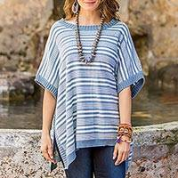Cotton poncho, 'Elegant Stripes'