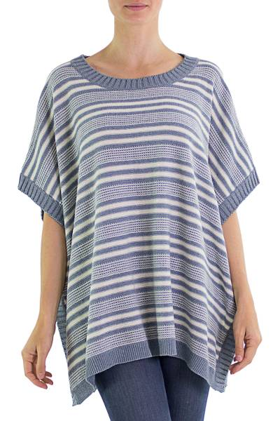 Cotton Poncho Blue Stripes Wood Buttons from Guatemala
