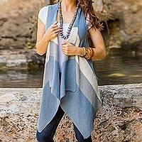 Cotton vest, 'Natural Diva in Blue' - Recycled Cotton Striped Vest in Blue and Ivory