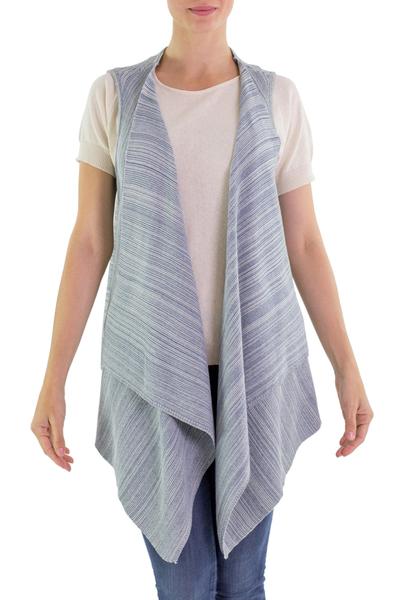 Cotton vest, 'Natural Glamour' - Blue Cotton Open Front Vest from Guatemala