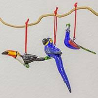 Terracotta ornaments, 'Exotic Birds' (set of 6) - Guatemalan Set of 6 Terracotta Tropical Bird Ornaments