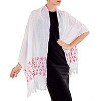Cotton shawl, 'Poppy Red Inspiration' - White Guatemalan Shawl Wrap Woven by Hand with Red Patterns