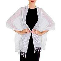 Cotton shawl, 'Starlit Love in White' - Geometric Stars on Hand Woven White Cotton Shawl