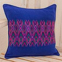 Cotton cushion cover, 'Qetzaltenango Frieze' - Indigo Square Cushion Cover with Multicolor Maya Frieze