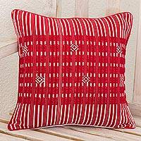 Cotton cushion cover, 'Crimson Paths' - Hand Woven Square Cushion Cover in Deep Red Cotton