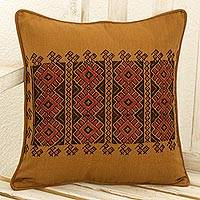 Cotton cushion cover, 'Mountain Sun' - Chili Suns Chocolate Birds on Cinnamon Cotton Cushion Cover