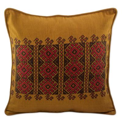 Chili Suns Chocolate Birds on Cinnamon Cotton Cushion Cover