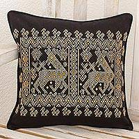 Cotton cushion cover, 'Beige Maya Deer' - Maya Animal Theme on Hand Woven Black Cotton Cushion Cover