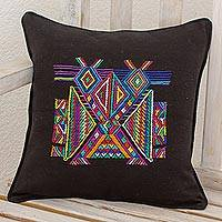 Cotton cushion cover, 'Feathered Dancers' - Multi Color Maya Eagle on Black Cotton Square Cushion Cover