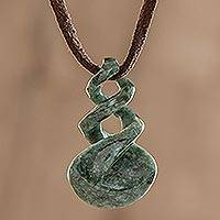 Jade pendant necklace, 'Swirl of the Sea' - Hand Made Green Jade Pendant Necklace from Guatemala