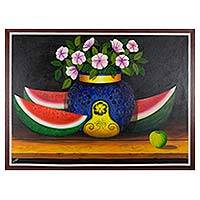 'Flowers and Watermelon' - Still Life Painting of Watermelon and Flowers Guatemala Art