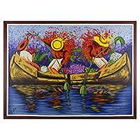 'Atitlan Reflections' - Surreal Art Painting of Men Rowing and Woman with Flowers