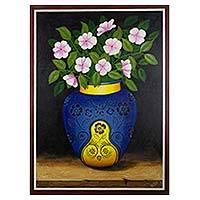 'Garden Flowers' - Guatemalan Still Life Painting of Flowers in a Blue Vase
