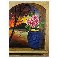 'Atitlan Window' - Painting of Guatemalan Sunset at the Lake with Volcano