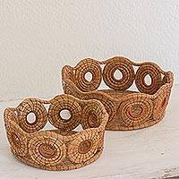 Pine needle baskets, 'Natural Spirals' (pair) - Hand Made Pine Needle Decorative Baskets from Guatemala