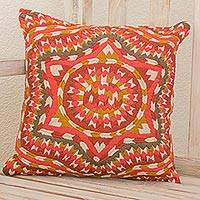 Cotton cushion cover, 'Santiago Star' - Embroidered Cotton Cushion Cover Multicolored Star Guatemala