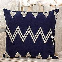 Cotton cushion cover, 'Tecpan Mountains' - Hand Woven Cotton Cushion Cover Indigo Ivory from Guatemala