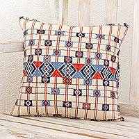 Cotton cushion cover, 'San Rafael Pictures' - Hand Woven Antique White Guatemalan Cotton Cushion Cover