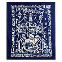 Batik cotton wall hanging, 'Pakal King' - Batik Cotton Wall Hanging in Prussian Blue from El Salvador