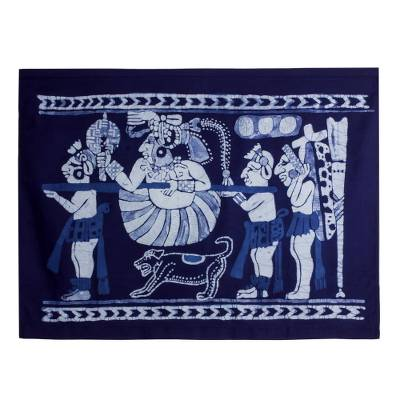 Batik cotton wall hanging, 'Ah Ppolom Merchant' - Batik Cotton Wall Hanging with Mayan Motifs from El Salvador