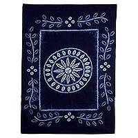 Batik cotton tablecloth, 'Flowery Feast' - Salvadoran Batik Cotton Floral Tablecloth in Prussian Blue