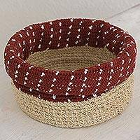 Agave fiber basket, 'Ixil Tradition in Brick' - Hand Made Agave Fiber Basket in Brick from Guatemala