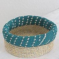 Agave fiber basket, 'Ixil Tradition in Teal' - Hand Made Agave Fiber Basket in Teal from Guatemala
