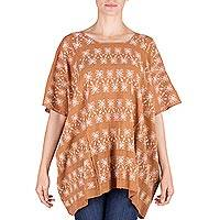 Handwoven cotton tunic, 'Ginger Nature' - Traditional Guatemalan Cotton Tunic Top Woven by Hand