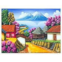 'Lake Atitlan II' - Signed Oil Painting of Lake Atitlan in Jewel Colors