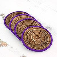 Pine needle coasters, 'Latin Toast in Purple' (set of 4) - Pine Needle Polyester Purple Coasters (Set of 4) Guatemala