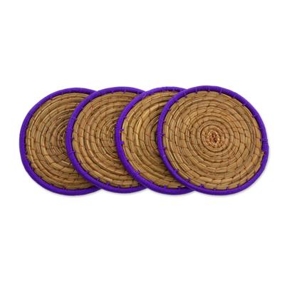Pine Needle Polyester Purple Coasters (Set of 4) Guatemala