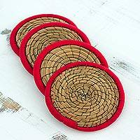 Pine needle coasters, 'Latin Toast in Red' (set of 4) - Pine Needle Polyester Red Coasters (Set of 4) Guatemala