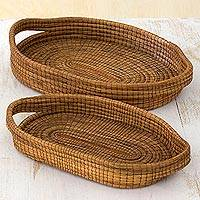 Pine needle baskets, 'Natural Details' (pair) - Hand Made Pine Needle Decorative Baskets (Pair) Guatemala