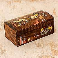 Wood jewelry box, 'Family Treasure' - Hand Crafted Pine Wood Jewelry Box from El Salvador