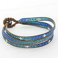 Glass beaded wristband bracelet, 'Blue Coast' - Glass Beaded Wristband Bracelet in Blue from Guatemala