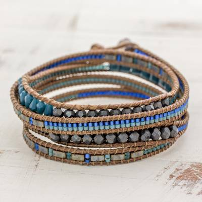 Glass beaded wrap bracelet, Sweet River