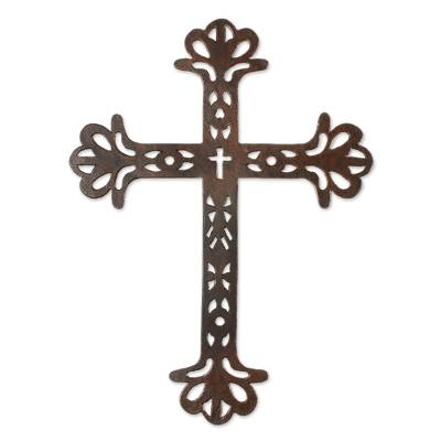 Iron wall cross, 'Walk With Jesus' - Iron Wall Decor of an Antiqued Cross from Guatemala