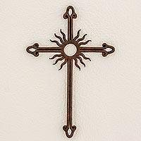 Iron wall cross, 'Antiqued Solar Cross'
