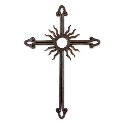 Iron wall cross, 'Antiqued Solar Cross' - Antiqued Iron Wall Decor Sun Cross from Guatemala