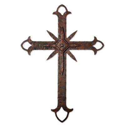 Iron wall cross, 'Faithful Confession' - Antiqued Iron Wall Art Cross Shape from Guatemala