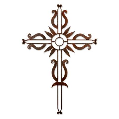 Iron wall cross, 'Flowering Love' - Antiqued Iron Wall Decor Cross from Guatemala
