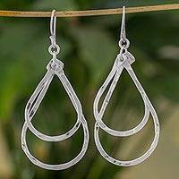 Fine silver dangle earrings, 'Reflection of Light' - Fine Silver Drop Shaped Dangle Earrings from Guatemala
