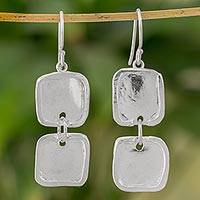 Fine silver dangle earrings, 'Creative Geometry' - Fine Silver Square Shaped Dangle Earrings from Guatemala
