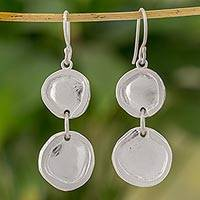 Fine silver dangle earrings, 'Creative Circles' - Fine Silver Modern Circle Dangle Earrings from Guatemala