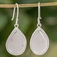 Fine silver dangle earrings, 'Creative Drops' - Fine Silver Droplet Dangle Earrings from Guatemala