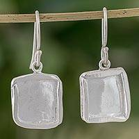 Fine silver dangle earrings, 'Shimmering Squares' - Fine Silver Dangle Earrings with Combination Finish